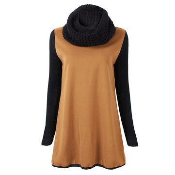 Casual Women Knitted Patchwork Woolen Sweatshirt With Neckerchief