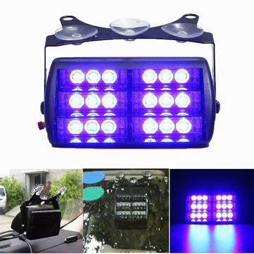 18 LED Blue 5W 12V General Automotive LED Wind Shield Trapezoidal Strobe Light Lamp