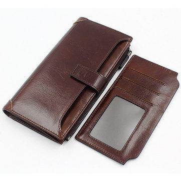 Genuine Leather Vintage Wallet Long 16 Card Holders Phone Bag Coin Bag For Men
