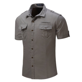 Outdoor Military Epaulet Pockets Cotton Cargo Work Shirts