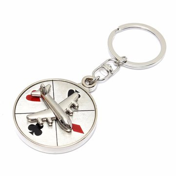 Car Mini Aircraft Airplane Model Metal Pendant Keyring Keyfob Keychain