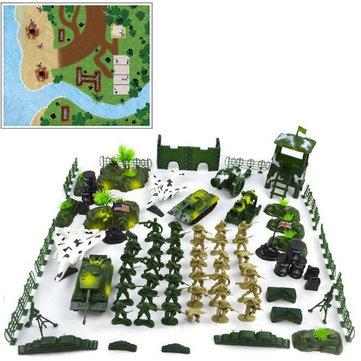 Original 90pcs DIY militar Modelo Playset Juguetes de plástico Soldado Ejército Hombres Figuras y accesorios