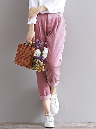 Casual Women Solid Color Harem Trouser