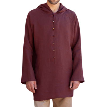 Men's Chinese Style Mid Long Casual Loose Sweatshirts