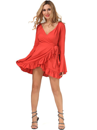 Sexy Women V-Neck Long Flare Sleeve Ruffle Wrap Dress