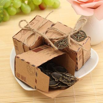 กล่องกระดาษคราฟท์ขนาด 50pcs กล่องจดหมายของเครื่องบินกล่องจดหมาย งานแต่งงาน Favors Shabby Vintage Gift Packing กระเ