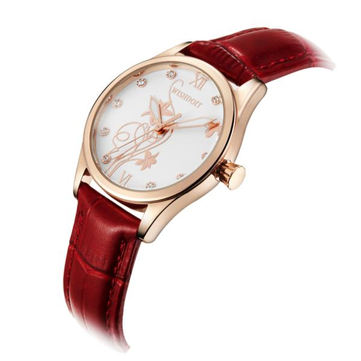 WISHDOIT WSD-005 Fashion Women Quartz Watch Roman Numerals Flower Iron Tower Wrist Watch