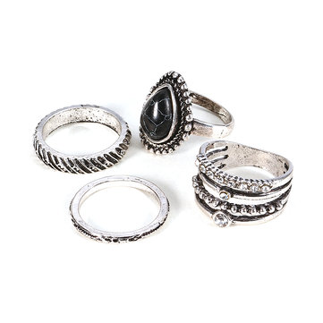 4 Pcs Bohemia Retro White Black Turquoise Rhinestone Knuckle Rings Set