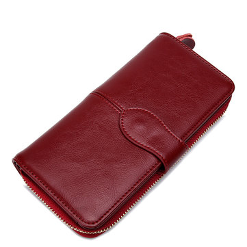 Women Vintage Leather Long Wallet Solid Zipper Phone Holder