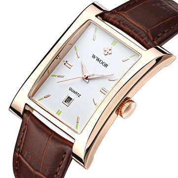 WWOOR 8017 Rectangle Dial Unique Design Men Wrist Watch Business Style Quartz Watches