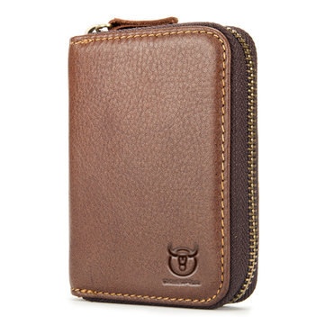Bullcaptain Genuine Leather Vintage Zipper Short Wallet