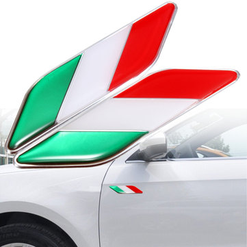 2pcs 3D Itllian Italy Flag Sticker Badge Emblems Decal Decor For Car Truck Laptop