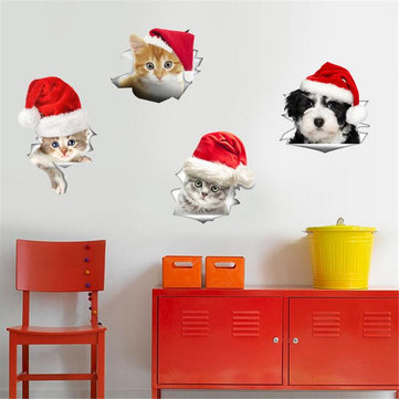 Christmas PVC Mural Wall Fridge Stickers Toilet Stool Poster Decals Home Decor Sticker
