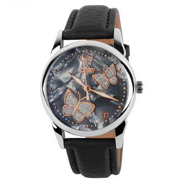 SKMEI 9079 papillon cuir PU vie de bande femmes imperméables montre-bracelet à quartz