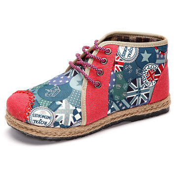 Women Flax High Top Lace Up Colorful Casual Soft Ankle Short Boots