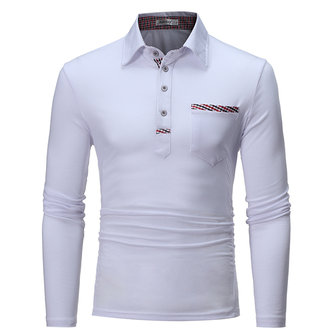 Men's Leisure Turn Down Collar T-shirt Slim Fit Long Sleeve Solid Color Polo Shirt