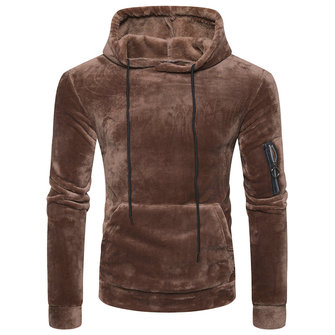 Mens Coral Fleece Casual Zipper Hoodies Sweatshirts