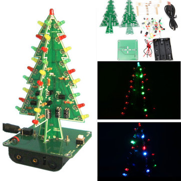 5 Pcs Geekcreit® Arbre de Noël LED Flash Kit Trois Couleur Version 3D BRICOLAGE Électronique Kit D'apprentissage