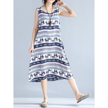Women Printed Dress Casual Sleeveless O Neck Dress