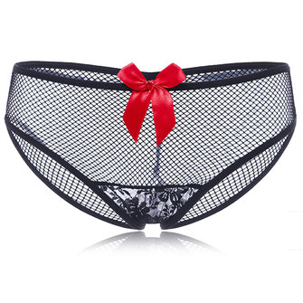 Plus Size Sexy Perspective Lace Bow-tied Panties See-through Mesh Seduced Underwear For Women