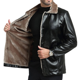 Mens Winter Thick Fleece Faux Leather Single-breasted Windbreaker Casual Slim Jacket
