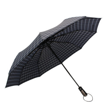 Automatic Folding Umbrella 1-2 People Windproof Umbrella Plaid Camping Sunshade