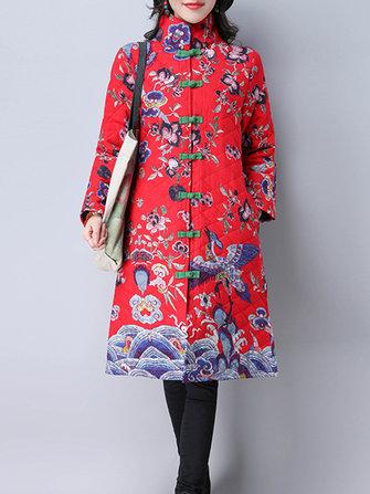Folk Style Floral Print Long Sleeve Stand Collar Women Coats