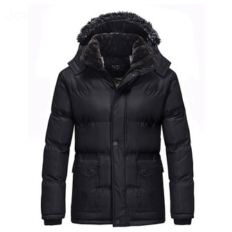 Mens Winter Thick Fleece Hooded Black Warm Parka Jacket