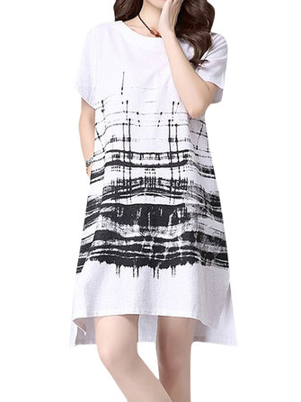 Casual Women Vintage Printing Cotton Short Sleeve Loose Dress
