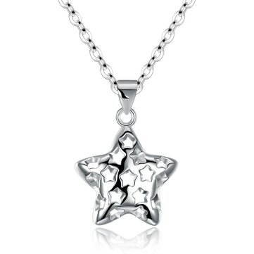 INALIS 925 Sterling Silver Star Style Hollow Necklace