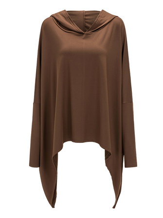 Casual Women Long Batwing Sleeve Hooded Top