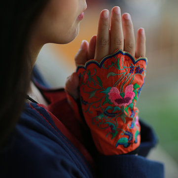 Ethnic Style Embroidery Fingerless Gloves