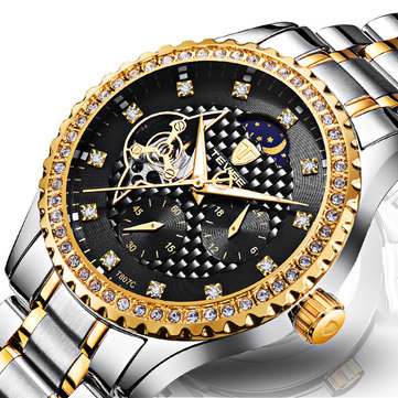 TEVISE T807C Luminous Skeleton Automatic Mechanical Watches Stainless Steel Strap Men Watch