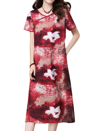 Chinese Style Women Printed Frog Button Side Slit Dress With Pocket