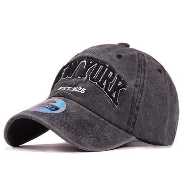 Men Washed Denim Baseball Caps Letters Applique Embellished Peaked Cap Outdoor Hats