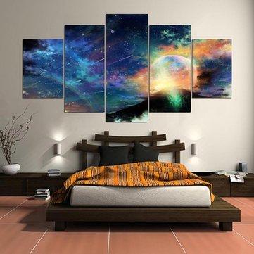 5 Renkli Kozmik Görünümler Basamaklı Tuval Duvar Resmi Resimli Ev Dekorasyon Çerçevesiz
