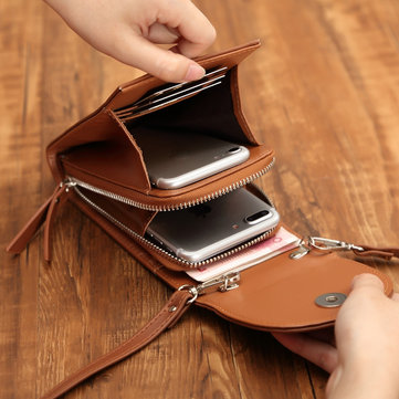 Multifunctional Leather Vertical Shoulder Bag Wallet Phone Case Card Solt for Phone below 5.5 inches