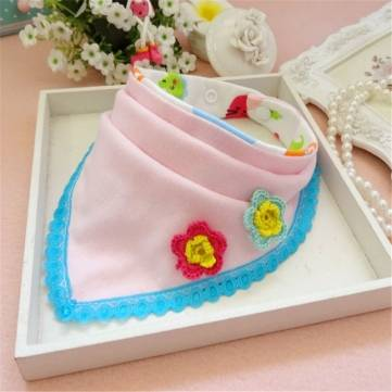 Buy Baby Kids Cotton Bib Multifunction Scarf Burp Cloths Cute Bibs Triangle Feeding Towel Saliva Apron for $3.56 in Banggood store