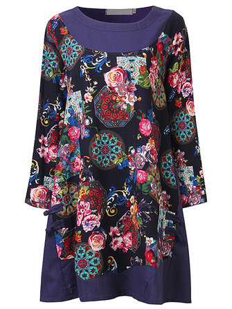 Loose Women Side Chinese Frog Printed Patchwork Mini Dress