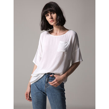 Women Casual Short Sleeve Solid Color Blouses