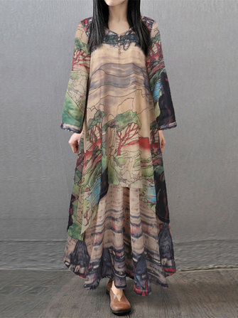 Vintage Printed Layered V-neck Long Sleeve Women Maxi Dress