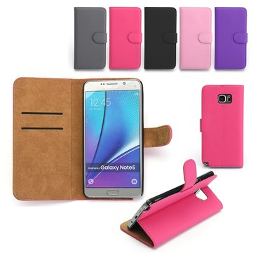 PU Leather Flip Wallet Card Slot Braceket Case For Samsung Galaxy Note 5