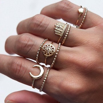 9Pcs Bohemian Ring Set Vintage Moon Heart Flower Crown Silver Gold Knuckle Rings Gift for Women
