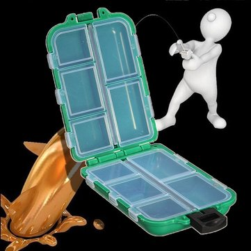 Tackle Box Storage Case Fly Fishing Lure Hook Bait 10/12 Compartments Green Blue