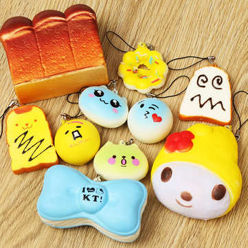 10PCS Random Cute Soft Squishy For Cell phone Panda/Donut/Cake Charms Straps