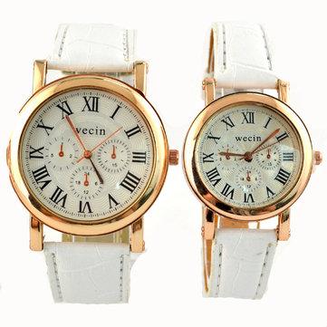 Wecin 9003 PU Leather Roman Number Band Analog Quartz Couples Watch