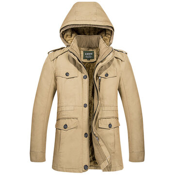 Mens Winter Warm Fleece Thick Hooded Jacket Outdoor Military Solid Color Coat