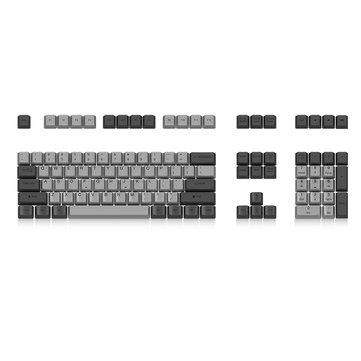 Akko X Ducky 108 Key OEM Profile PBT Gray Keycaps Dye Sublimation Keycap Set for Mechanical Keyboard