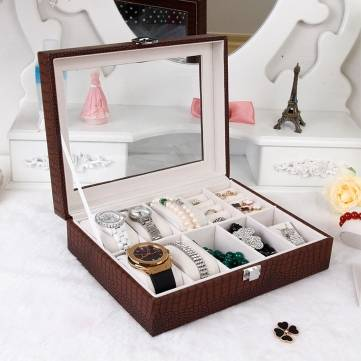 Luxury Watch Box Display Case Organizer Glass Top Jewelry Storage Present