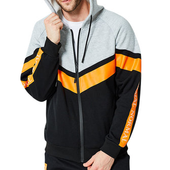 Men's Autumn Polyester Loose Hoodies Zipper Fashion Patchwork Casual Sweatshirt